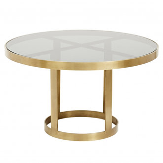 Nordal Round coffee table, golden/black glass