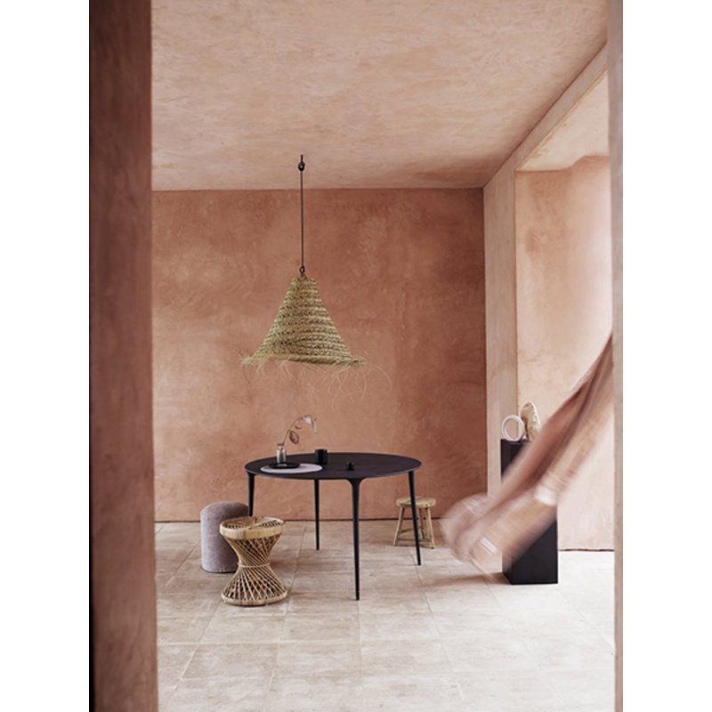 Tine K Home-collectie Lamp shade in woven palmleaves with fringes, - size M