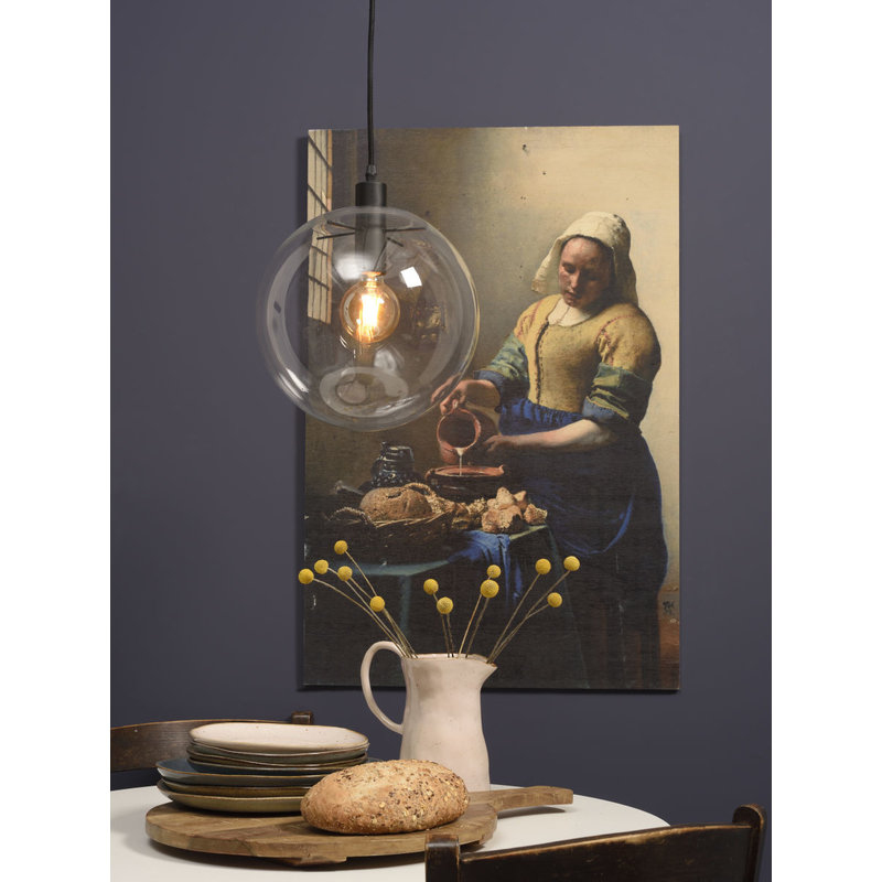 it's about RoMi-collectie Hanglamp glas/bol Warsaw transparant/zwart