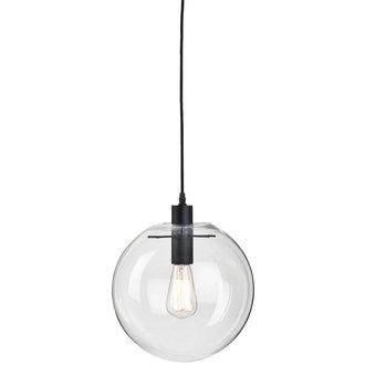 it's about RoMi Hanglamp glas/bol Warsaw transparant/zwart