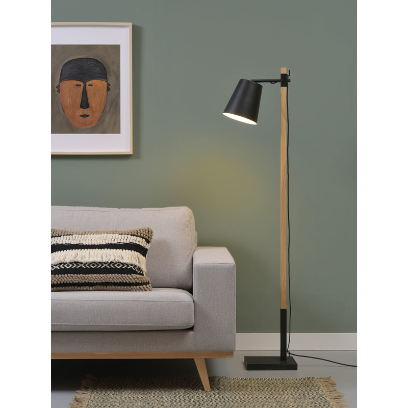 it's about RoMi-collectie Floor lamp iron/ash wood square Sydney, black/natural