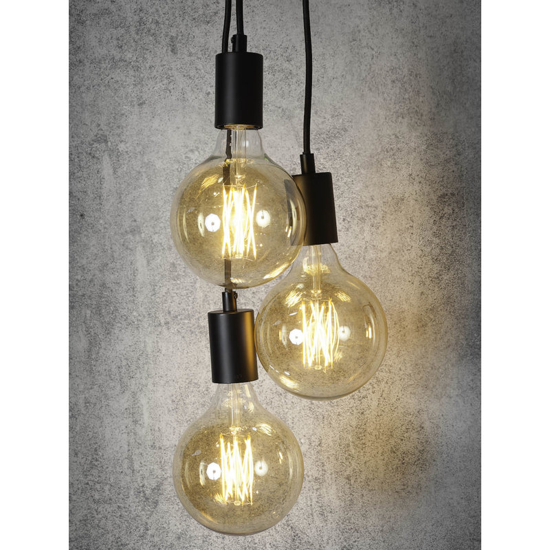 it's about RoMi-collectie Hanging system Oslo/3 lampen textile wire 150cm black