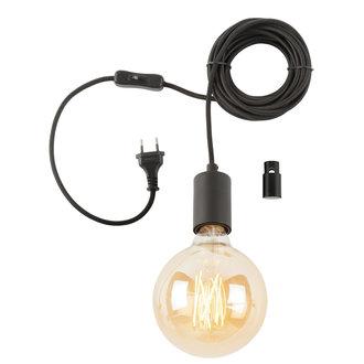 it's about RoMi Hangsysteem Oslo/1 lamp textieldraad 6m + kabelhouder, zwart