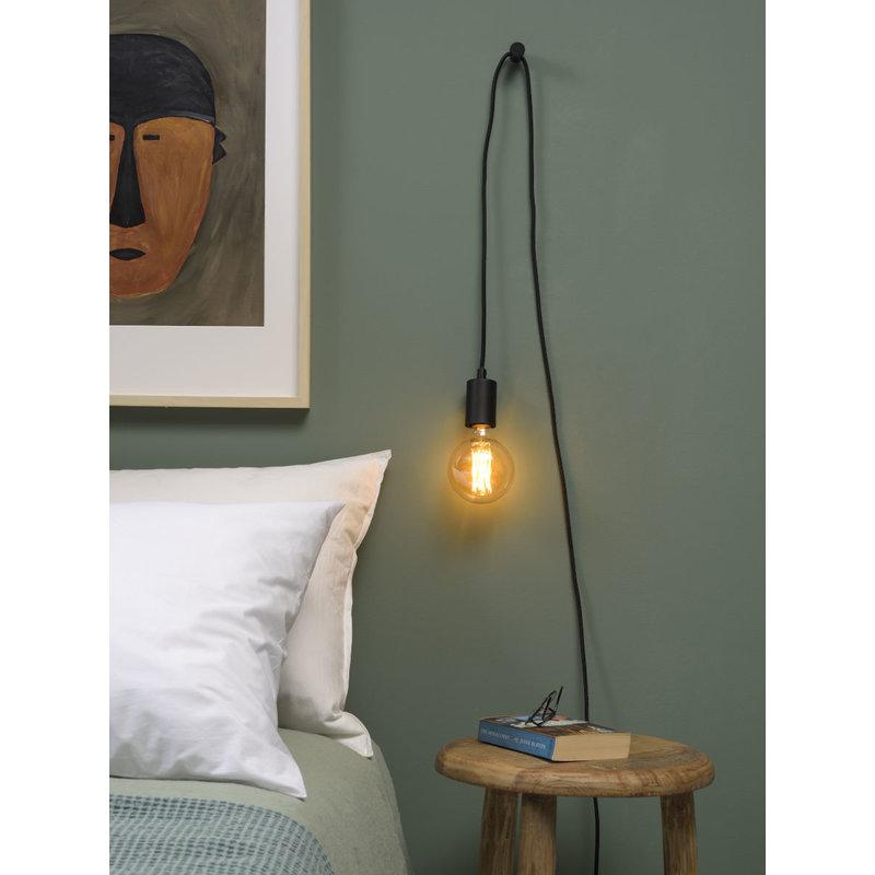 it's about RoMi-collectie Hangsysteem Oslo/1 lamp textieldraad 6m + kabelhouder, zwart