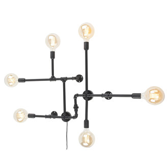 it's about RoMi Wandlamp ijzer Nashville 6-arm zwart