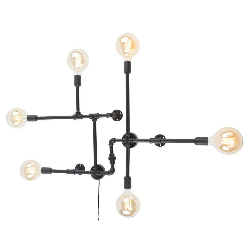 it's about RoMi-collectie Wall lamp iron Nashville 6-arm, black