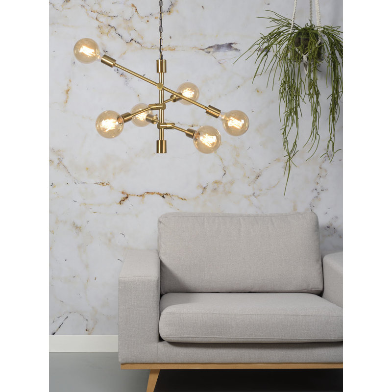 it's about RoMi-collectie Hanging lamp iron Nashville 6-arm, gold