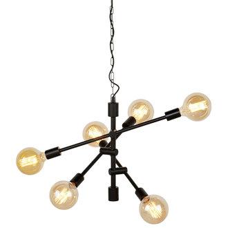 it's about RoMi Hanging lamp iron Nashville 6-arm, black