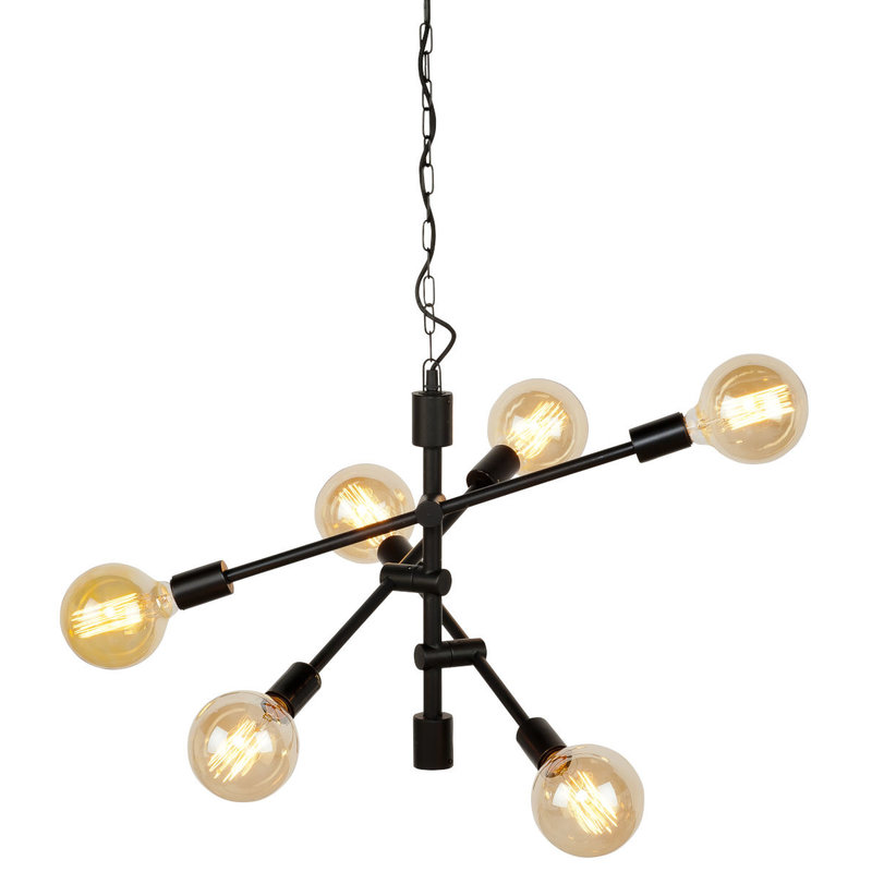 it's about RoMi-collectie Hanging lamp iron Nashville 6-arm, black