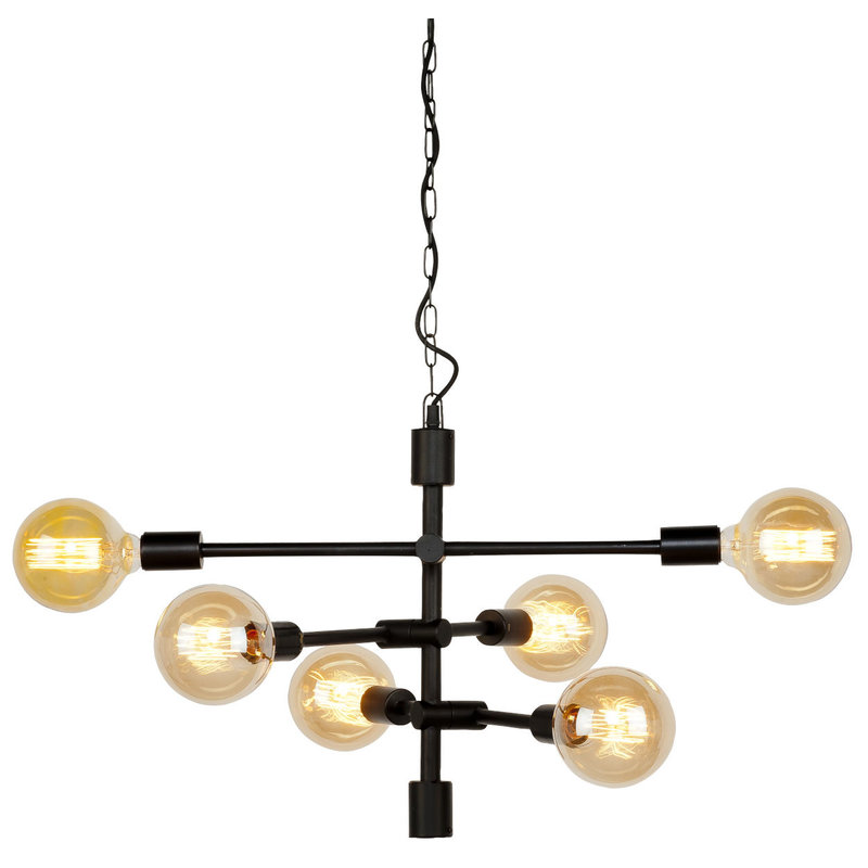 it's about RoMi-collectie Hanglamp ijzer Nashville 6-arm zwart