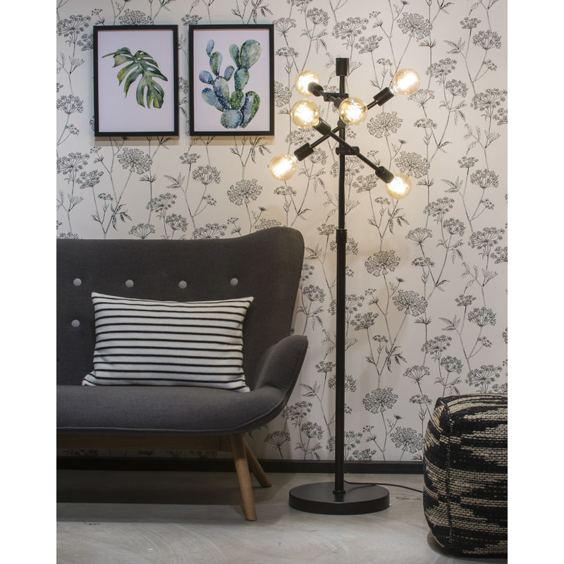 it's about RoMi-collectie Floor lamp iron Nashville 6-arm, black