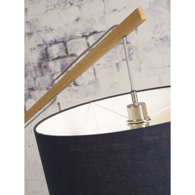 Good&Mojo-collectie Floor lamp Montblanc bamboo 4723 eco linen, donkergrijs