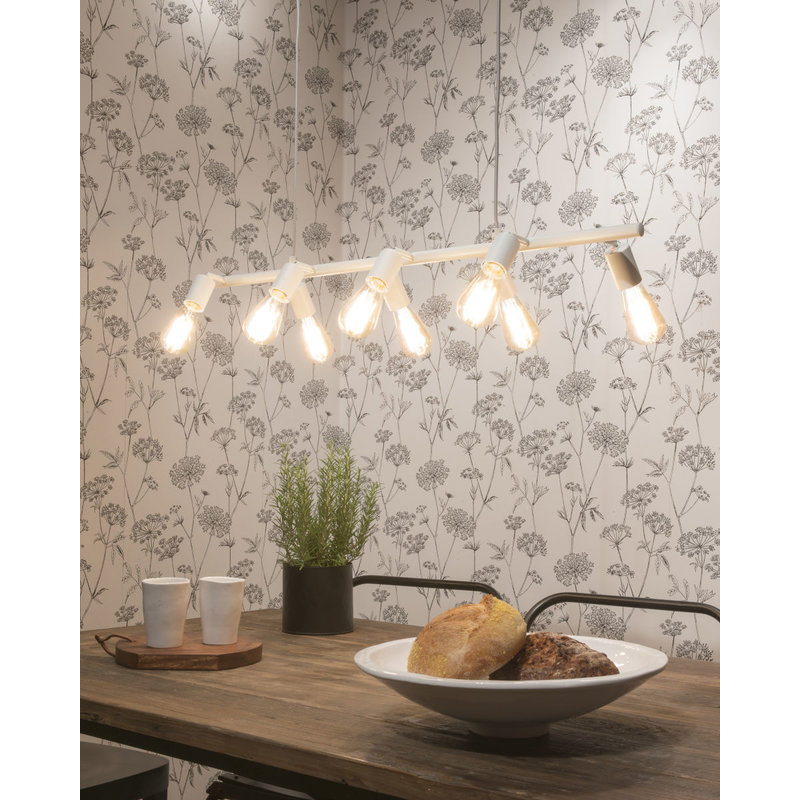 it's about RoMi-collectie Hanglamp ijzer Miami 8-arm  verstelbaar, wit