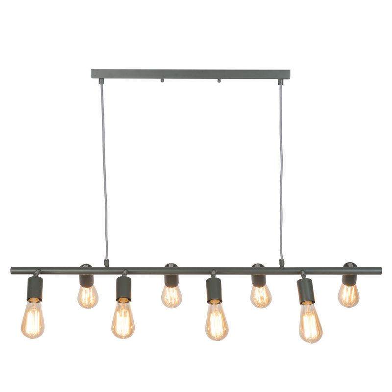 it's about RoMi-collectie Hanging lamp iron Miami 8-arm, grey-green