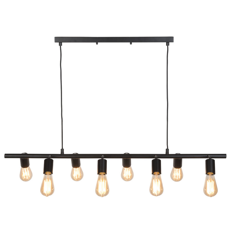 it's about RoMi-collectie Hanging lamp iron Miami 8-arm, black