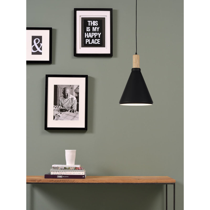 it's about RoMi-collectie Hanging lamp iron/wood Melbourne black/natural, S