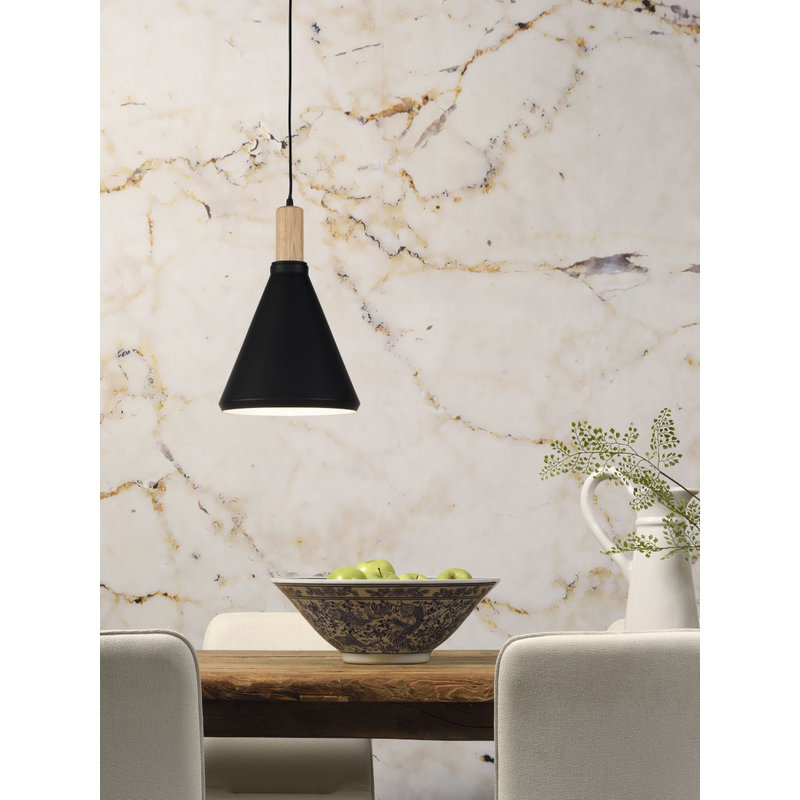 it's about RoMi-collectie Hanglamp ijzer/hout Melbourne  zwart/naturel, S