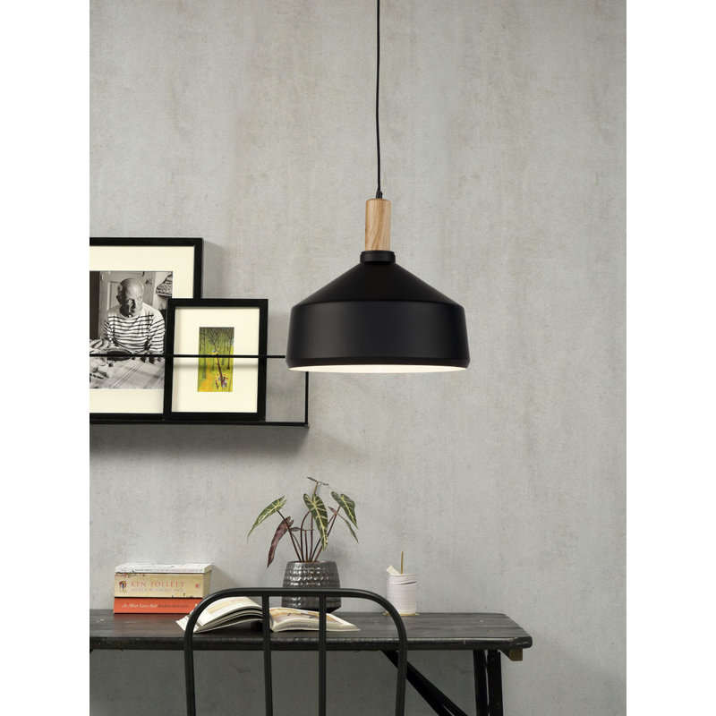 it's about RoMi-collectie Hanging lamp iron/wood Melbourne black/natural, L