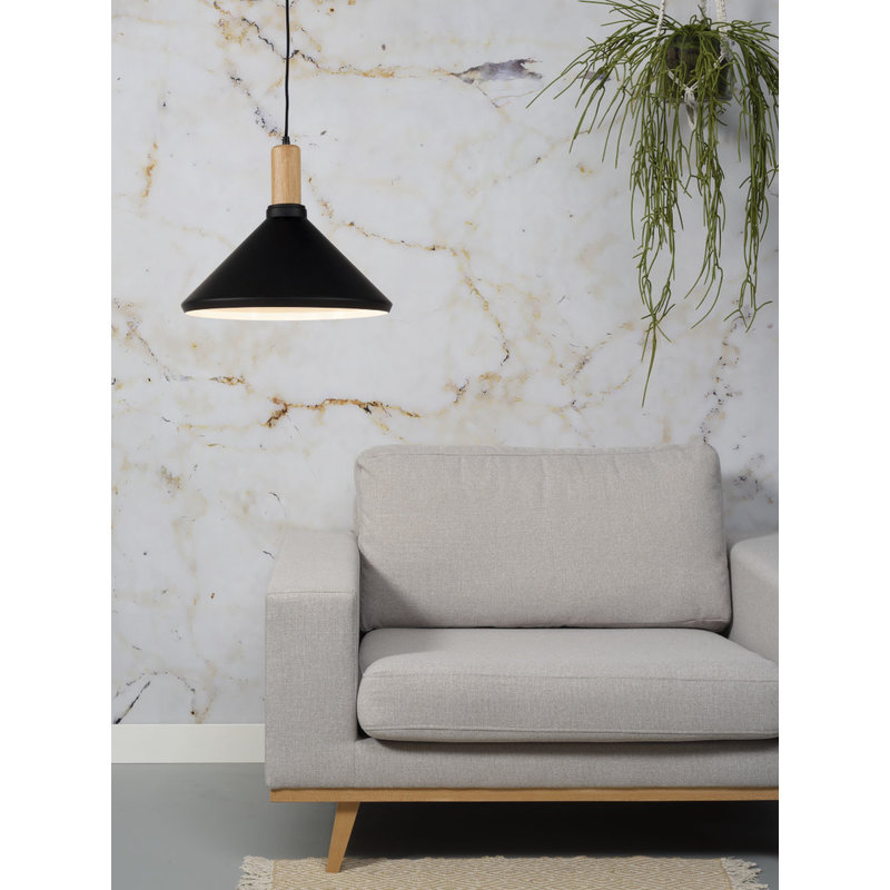 it's about RoMi-collectie Hanglamp ijzer/hout Melbourne zwart/naturel, M
