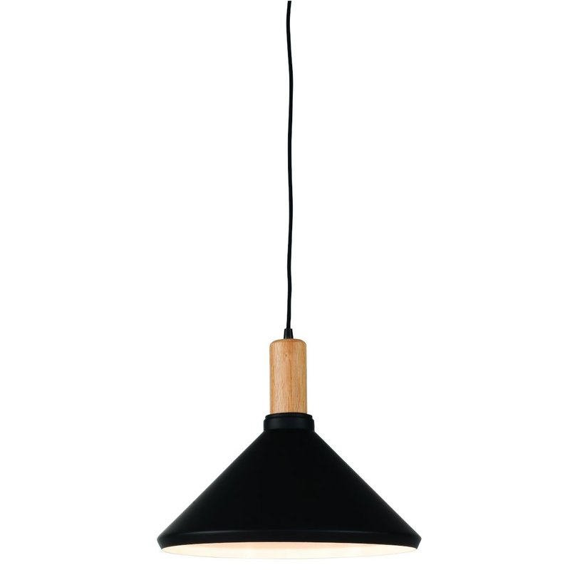 it's about RoMi-collectie Hanging lamp iron/wood Melbourne black/natural, M