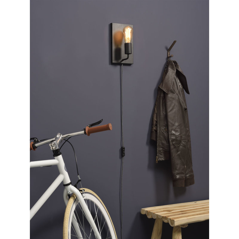 it's about RoMi-collectie Wall lamp iron Madrid  black, L