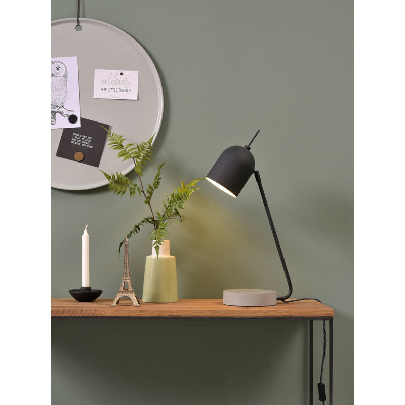 it's about RoMi-collectie Table lamp iron/concrete base Madrid, black