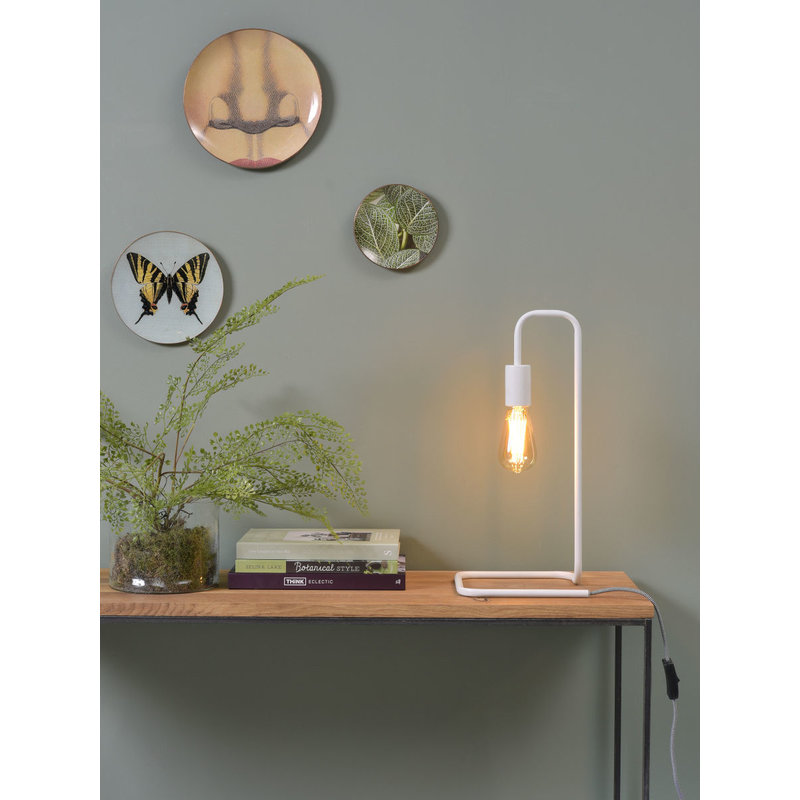 it's about RoMi-collectie Table lamp iron/tube London, white