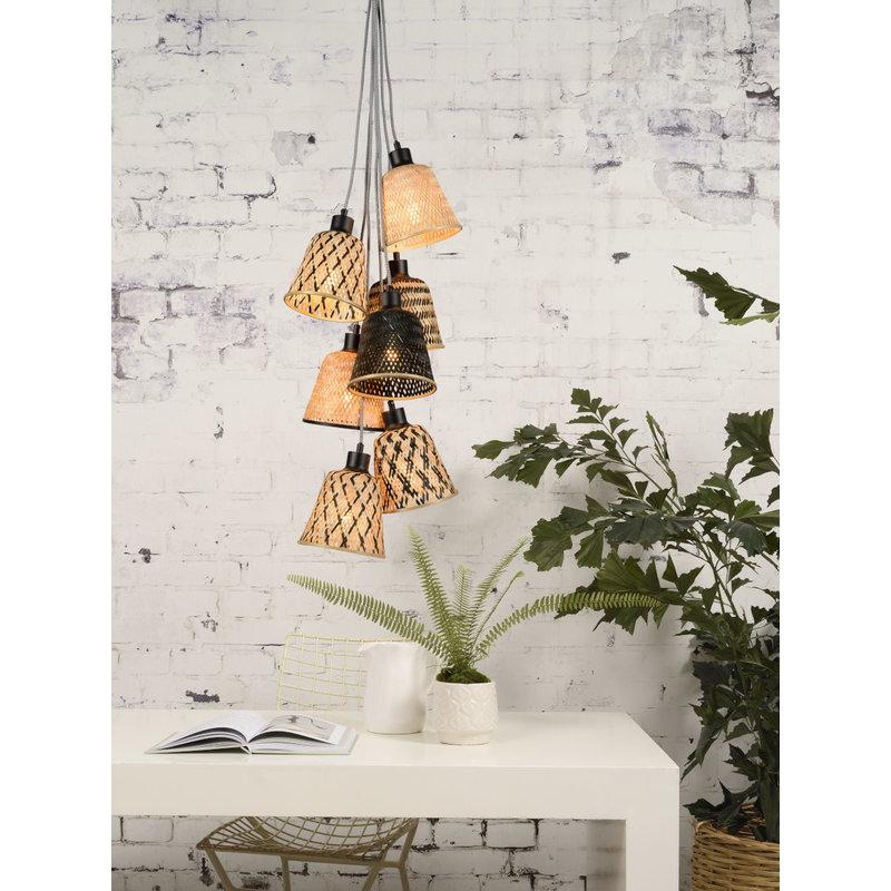 Good&Mojo-collectie Hanglamp Kalimantan/7-kap bamboe  zwart/naturel