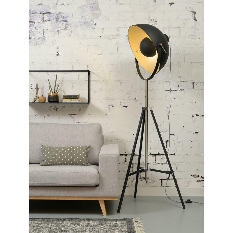 it's about RoMi-collectie Vloerlamp ijzer 3-poot Hollywood zwart