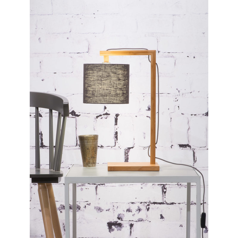 Good&Mojo-collectie Tafellamp Himalaya bamboe  eco linnen, donkergrijs