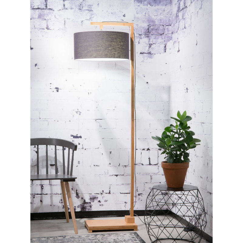 Good&Mojo-collectie Floor lamp Himalaya bamboo 4723, linen dark grey