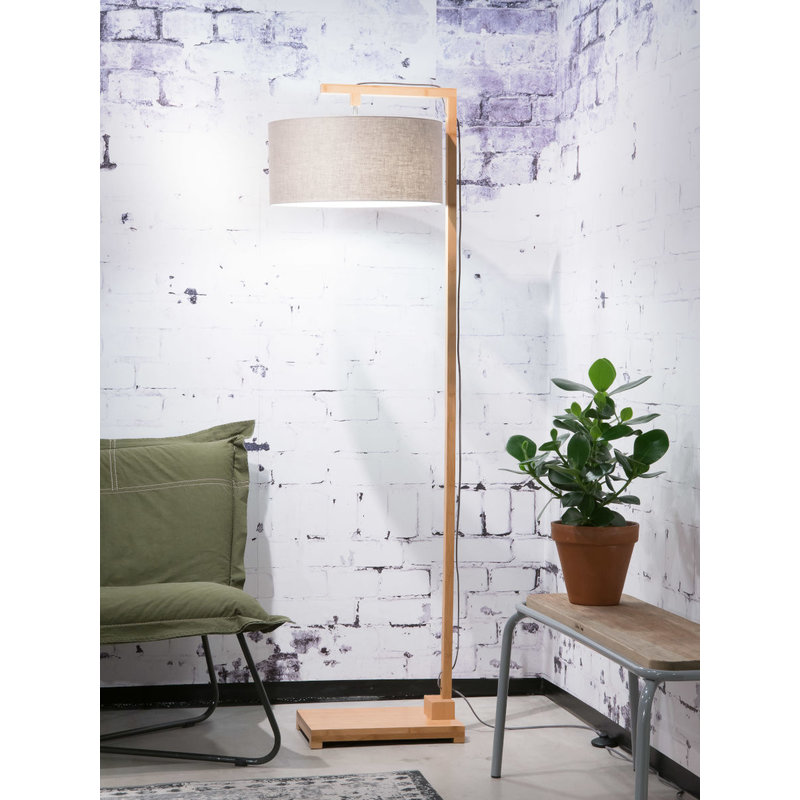 Good&Mojo-collectie Vloerlamp Himalaya bamboe h.174cm/kap 47x23cm eco linnen, linen dark