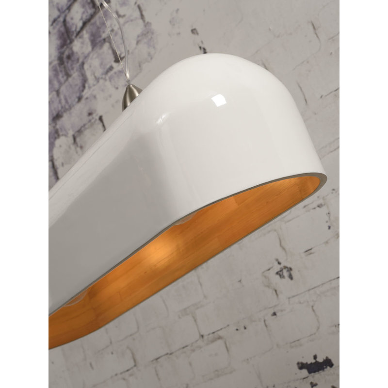 Good&Mojo-collectie Hanging lamp Halong bamboo oval, white