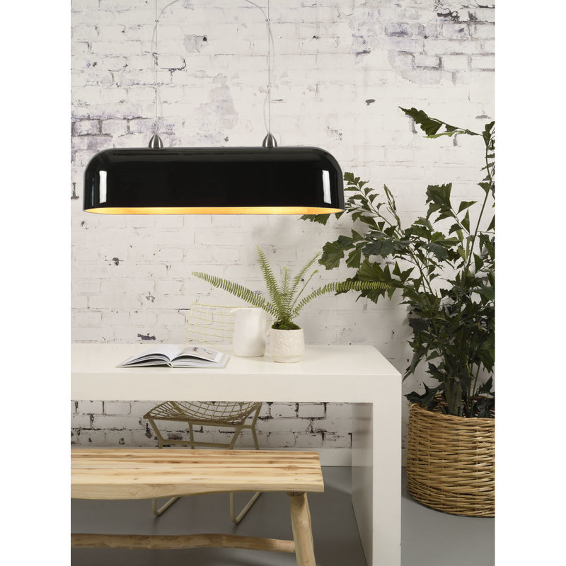 Good&Mojo-collectie Hanging lamp Halong bamboo oval, black