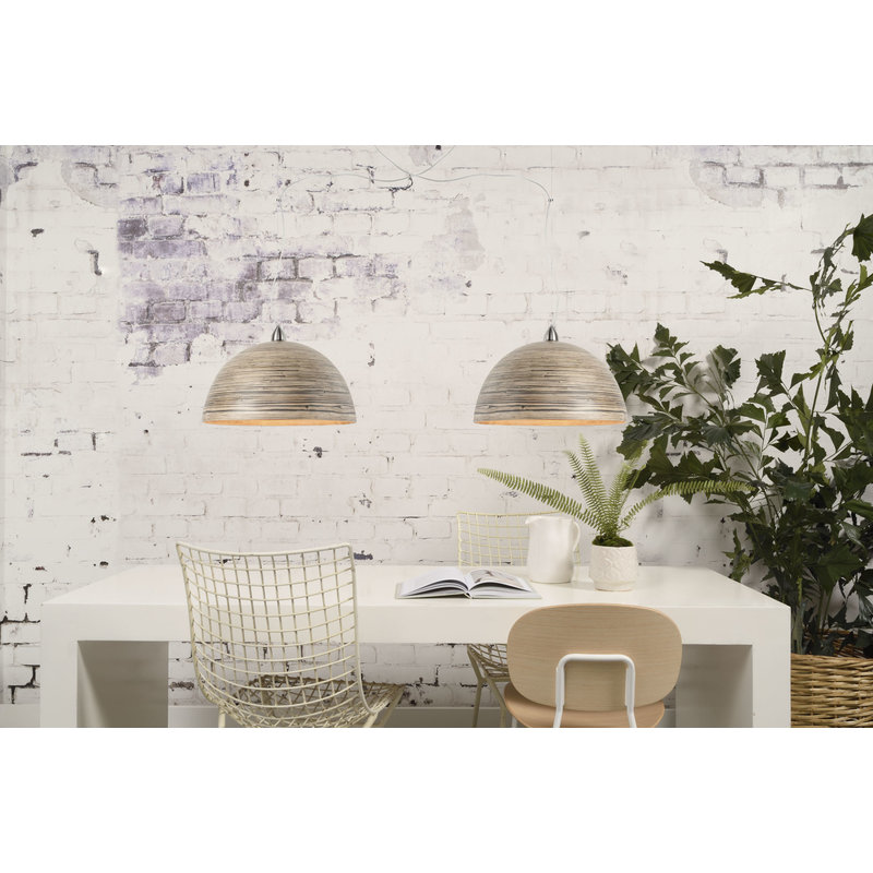 Good&Mojo-collectie Hanging lamp bamboo Halong double, dark natural