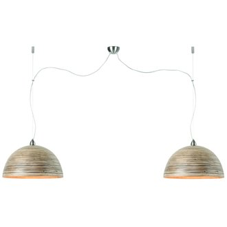 Good&Mojo Hanglamp bamboe Halong 2-kaps hangsysteem, donker naturel