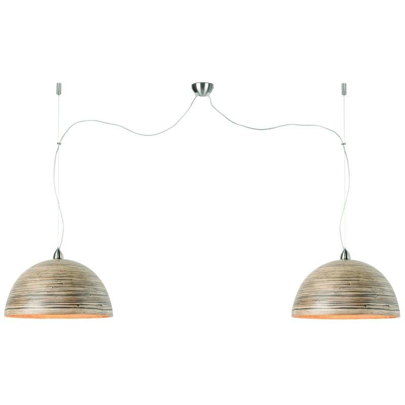 Good&Mojo-collectie Hanglamp bamboe Halong 2-kaps hangsysteem, donker naturel