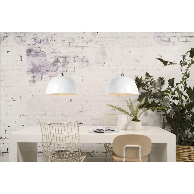 Good&Mojo-collectie Hanging lamp bamboo Halong single, white