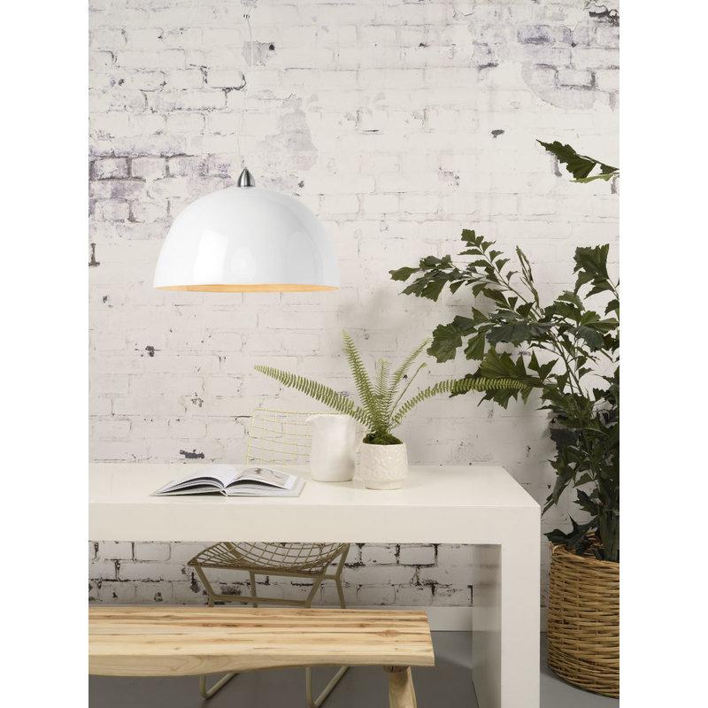 Good&Mojo-collectie Hanglamp bamboe Halong 1-kaps hangsysteem, wit