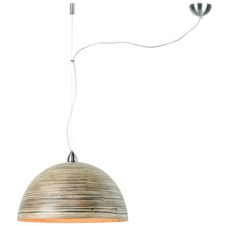 Good&Mojo Hanglamp bamboe Halong 1-kaps hangsysteem, donker naturel
