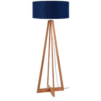 Good&Mojo Floor lamp bamboo Everest 6030, blue denim