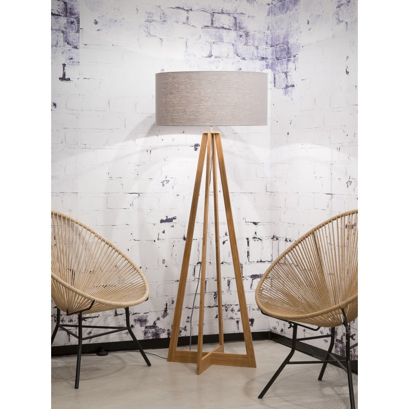 Good&Mojo-collectie Floor lamp bamboo Everest 6030, light grey