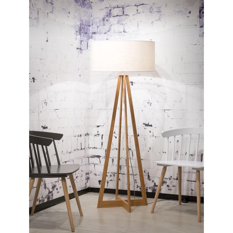 Good&Mojo-collectie Vloerlamp bamboe 4-poot Everest linnen wit