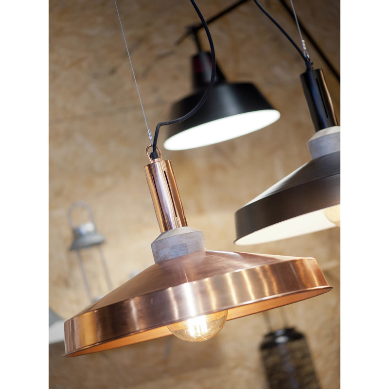 it's about RoMi-collectie Hanging lamp iron/wood Detroit round, copper/natural