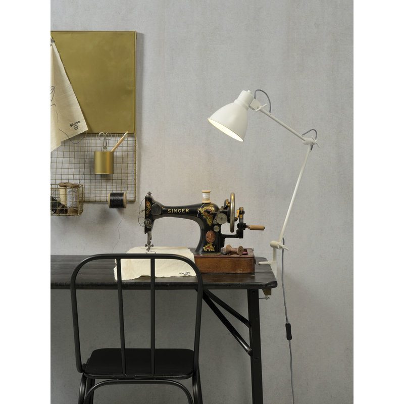 it's about RoMi-collectie Tafel klemlamp ijzer Derby wit
