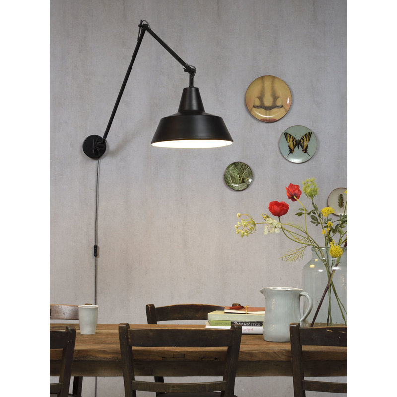 it's about RoMi-collectie Wandlamp ijzer Chicago mat zwart