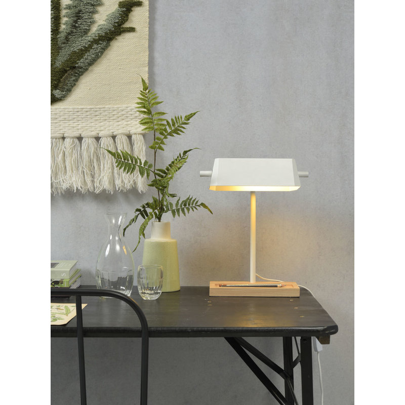 it's about RoMi-collectie Tafellamp ijzer/hout Cambridge wit/naturel