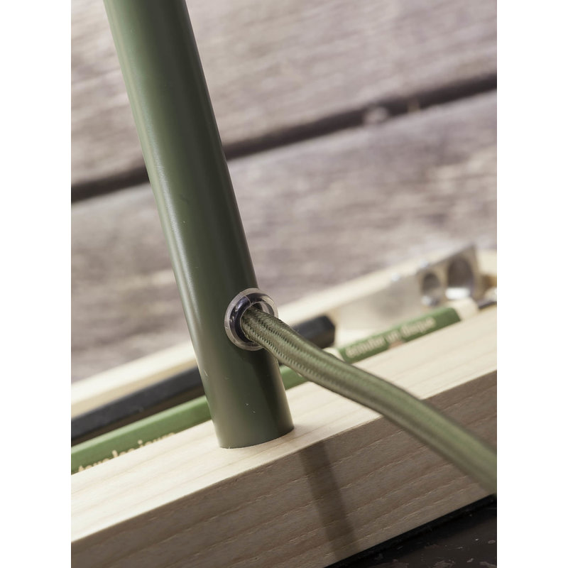 it's about RoMi-collectie Tafellamp ijzer/hout Cambridge olijfgroen/naturel