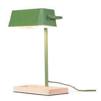 it's about RoMi Tafellamp ijzer/hout Cambridge olijfgroen/naturel