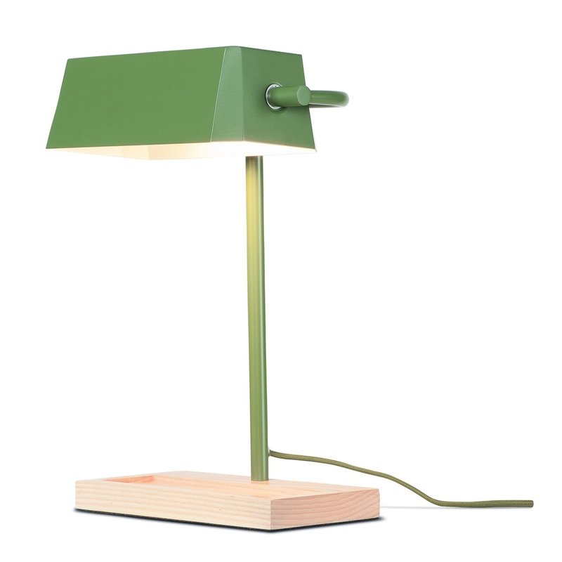 it's about RoMi-collectie Table lamp iron/wood Cambridge, olive green